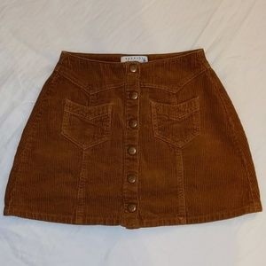 Kendall & Kylie Corduroy Mini Button Skirt